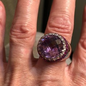 Amethyst rubies and 14k white gold huge ring
